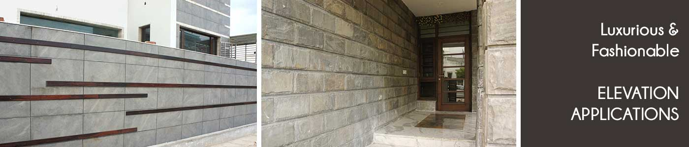 Natural stone wall tiles applications at exterior elevation wall