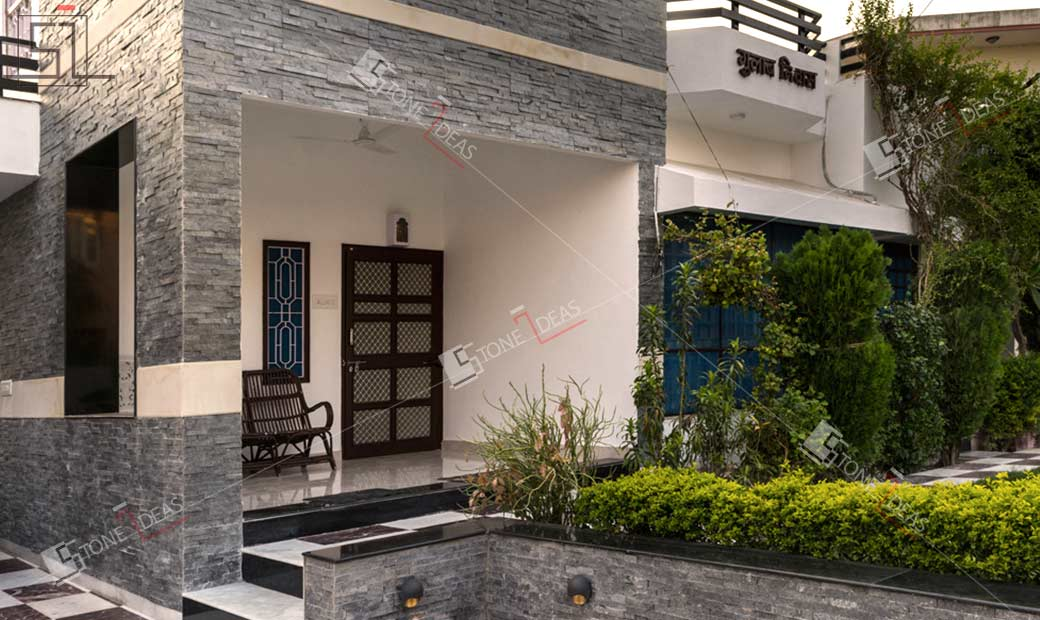 House Front Wall Elevation : Application images of natural stone on interior exterior
