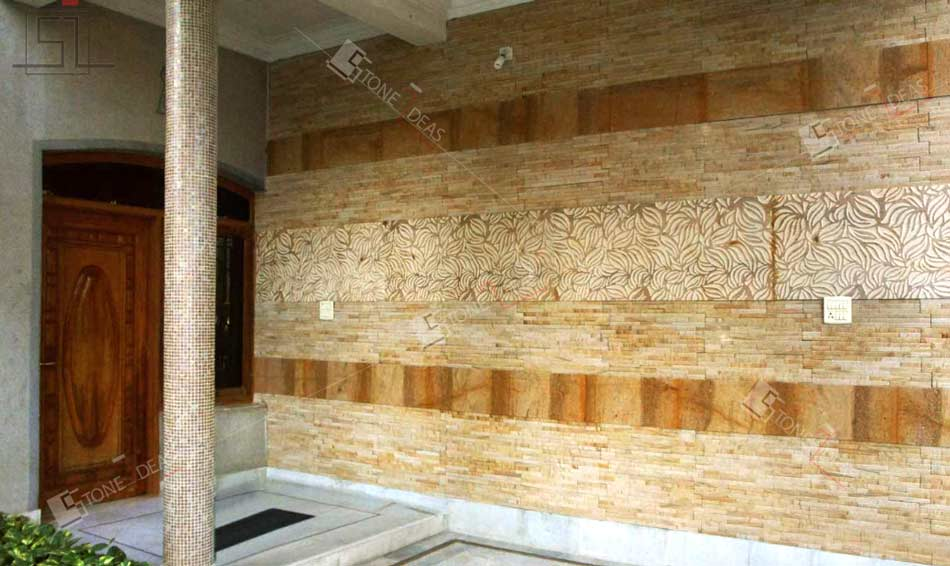 Application ideas of natural stone on interior exterior walls.